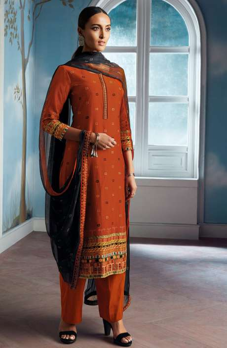 Modal Silk Digital Printed Salwar Suit In Rust with Chiffon Dupatta - ENIC0078