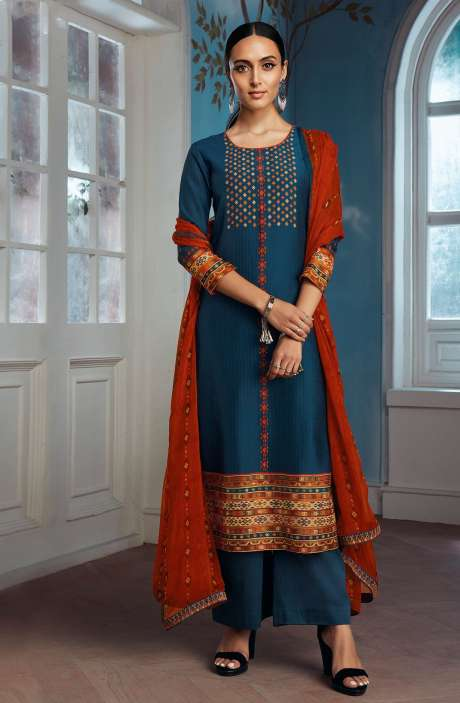 Modal Silk Digital Printed Salwar Suit In Blue with Chiffon Dupatta - ENIC0079