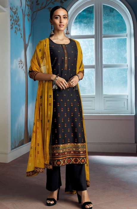 Modal Silk Digital Printed Salwar Suit In Black with Chiffon Dupatta - ENIC0080
