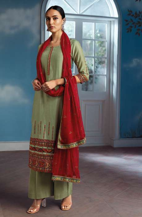 Modal Silk Digital Printed Salwar Suit In Light Green with Chiffon Dupatta - ENIC0081