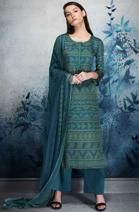 Modal Cotton Digital Printed Blue Salwar Kameez with Embroidery and Hand Work - ERI6449