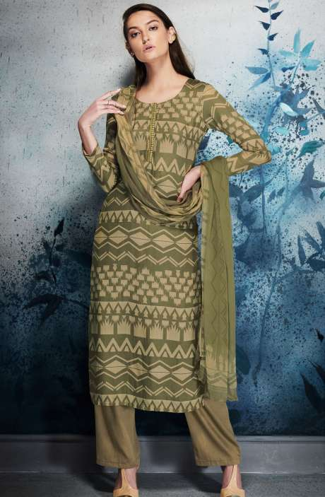 Modal Cotton Digital Printed Mehndi and Beige Salwar Kameez with Embroidery and Hand Work - ERI6450