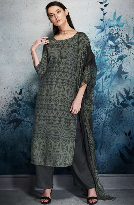 Modal Cotton Digital Printed Dark Grey and Green Salwar Kameez with Embroidery and Hand Work - ERI6452