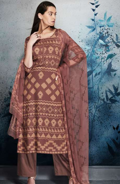 Modal Cotton Digital Printed Mauve and Beige Salwar Kameez with Embroidery and Hand Work - ERI6453