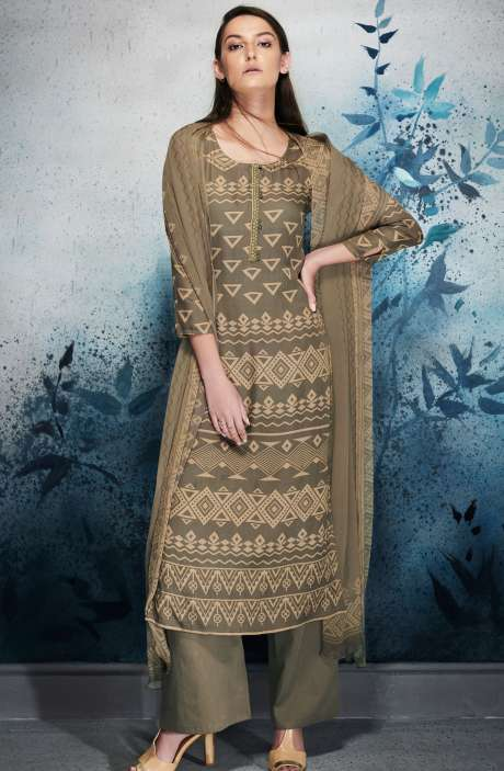 Modal Cotton Digital Printed Mehndi and Beige Salwar Suit with Embroidery and Hand Work - ERI6454