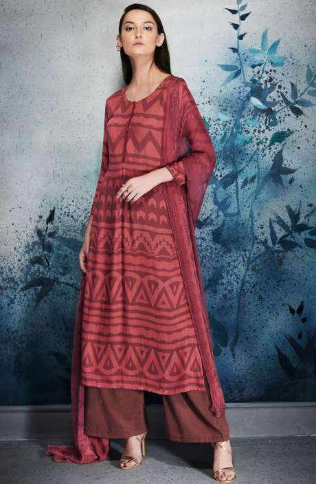 Modal Cotton Digital Printed Maroon and Red Salwar Kameez with Embroidery and Hand Work - ERI6455