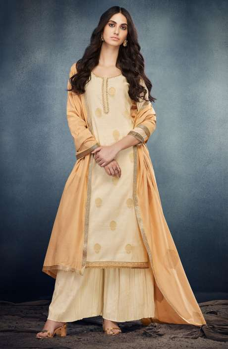 Festive Collection Zari & Sequins Work Silk Satin Salwar Kameez In Cream - ERI7624R