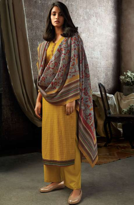 Mustard Yellow Cotton Printed Salwar Kameez - ESL7201