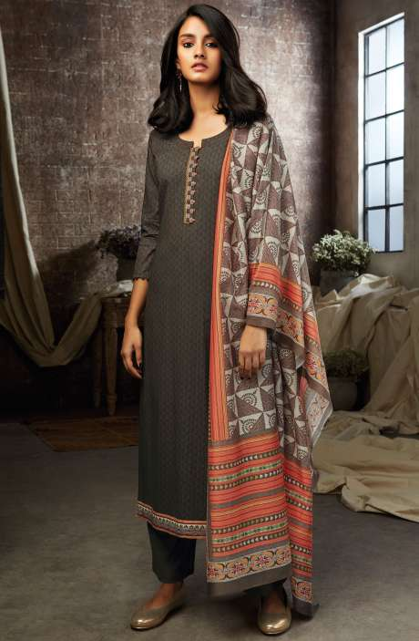 Chocolate Brown Cotton Printed Salwar Kameez - ESL7202