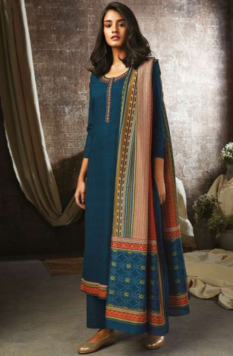 Blue Cotton Printed Salwar Kameez - ESL7203