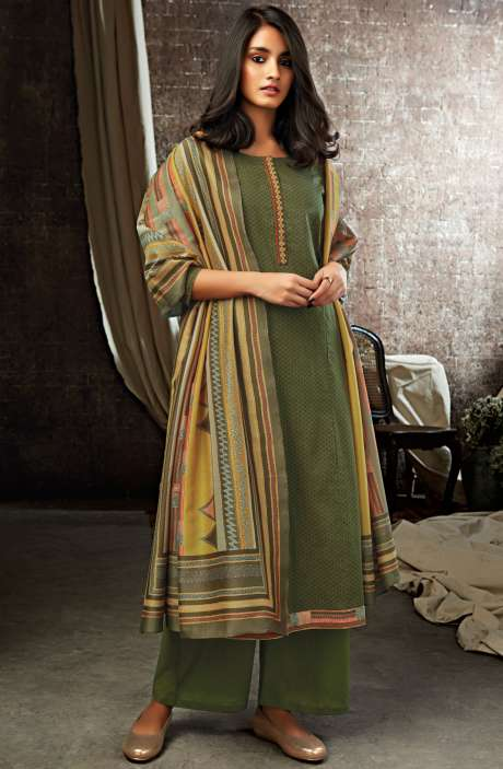 Mehndi Green Cotton Printed Salwar Kameez - ESL7204