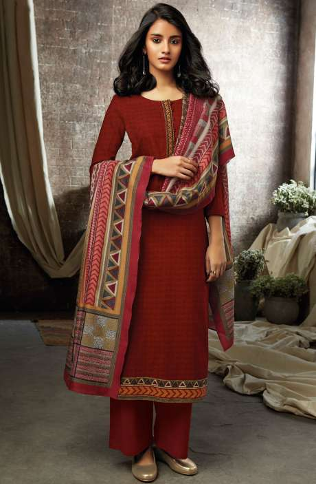 Red Cotton Printed Salwar Kameez - ESL7205