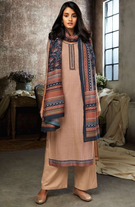 Light Peach Cotton Printed Salwar Kameez - ESL7207