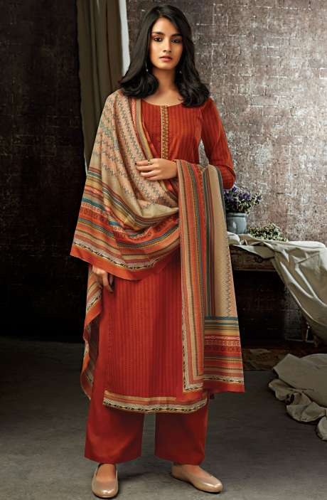 Rust Cotton Printed Salwar Kameez - ESL7209