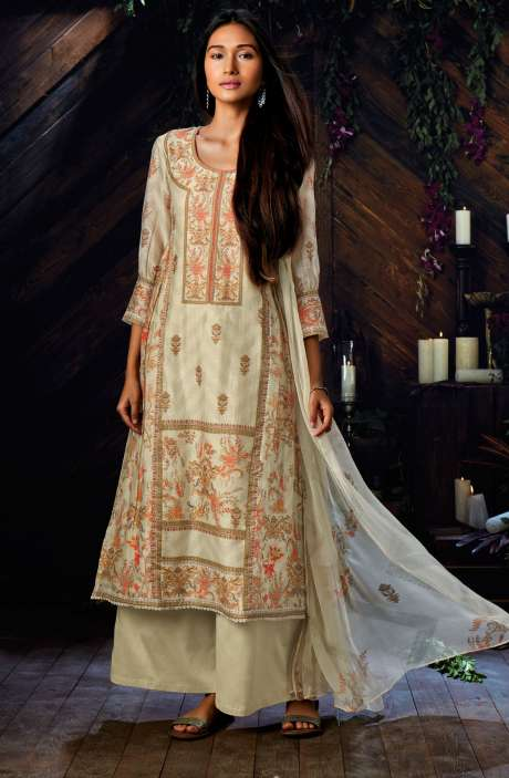Kora Silk Digital Floral Print Cream Salwar Suit - ESP6944R