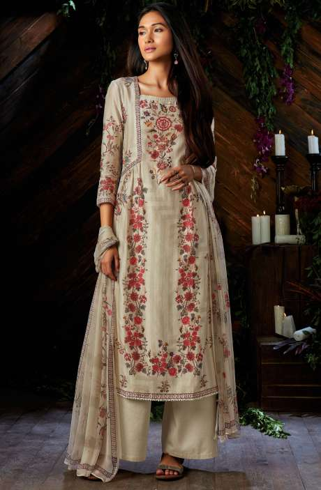 Kora Silk Digital Floral Printed Cream Salwar Suit - ESP6946