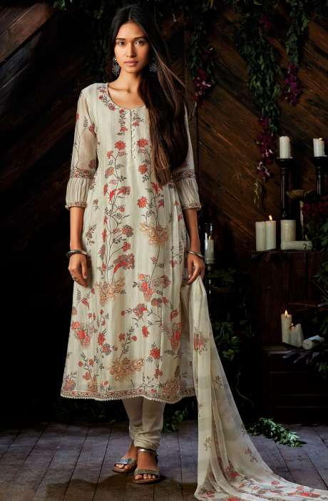 Cream Kora Silk Digital Floral Print Salwar Suit - ESP6949