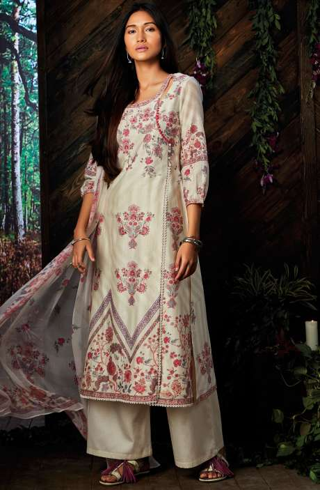 Cream Kora Silk Digital Floral Printed Salwar Suit - ESP6951