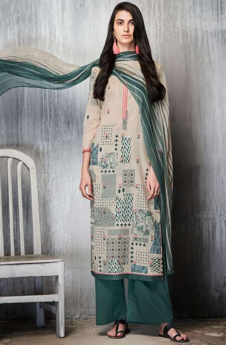 Cotton Lawn Printed Unstitched Salwar Suit In Cream & Bottle Green - IMP7601