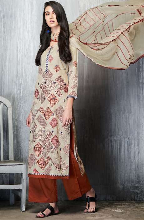 Cotton Lawn Printed Unstitched Salwar Suit In Cream & Maroon - IMP7602