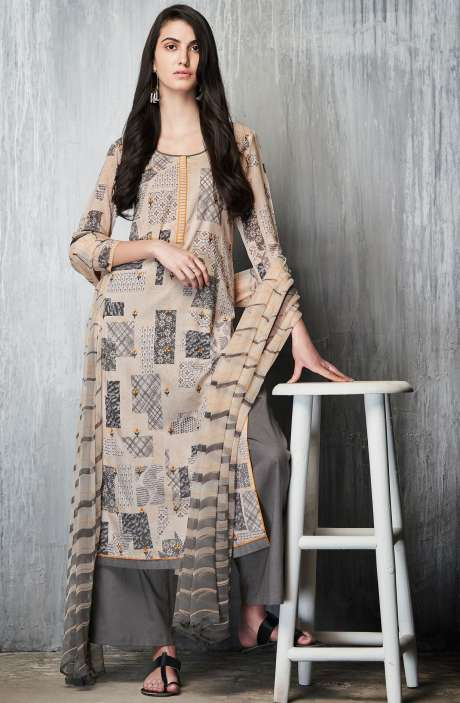 Cotton Lawn Printed Unstitched Salwar Suit In Cream & Grey - IMP7604