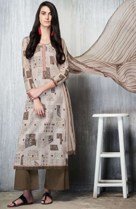Cotton Lawn Printed Unstitched Salwar Suit In Cream & Brown - IMP7605