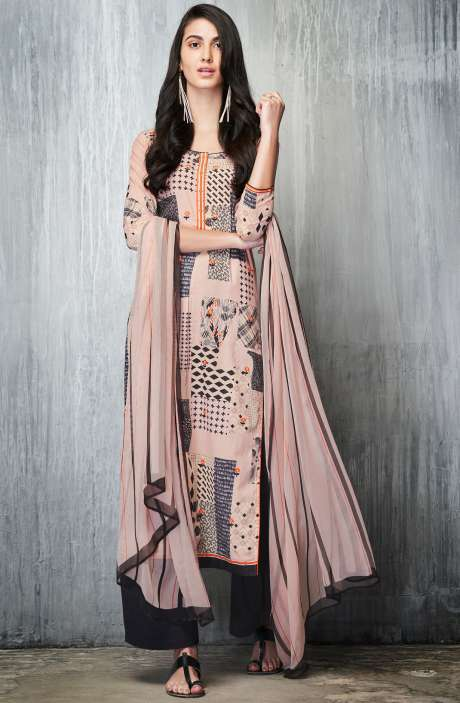 Cotton Lawn Printed Unstitched Salwar Suit In Light Peach & Black - IMP7606