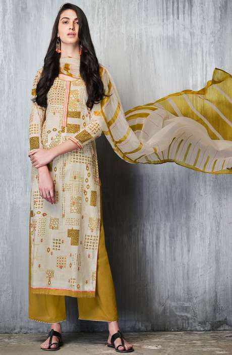 Cotton Lawn Printed Unstitched Salwar Suit In Cream & Mehndi - IMP7607