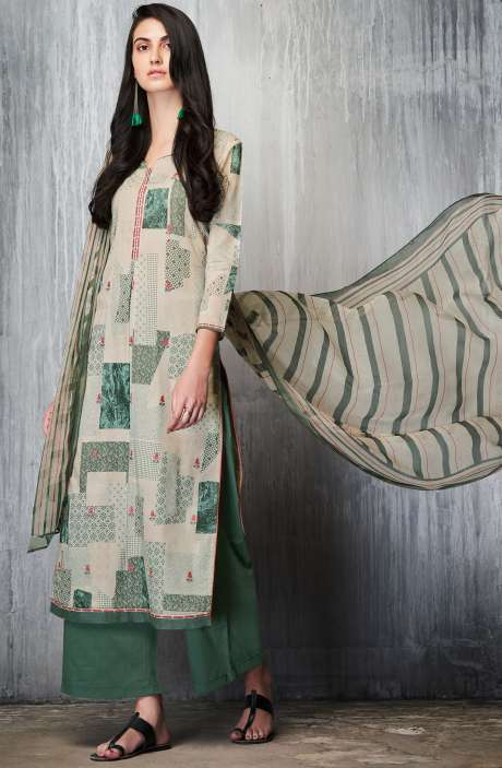 Cotton Lawn Printed Unstitched Salwar Suit Sets In Cream & Bottle Green - IMP7608
