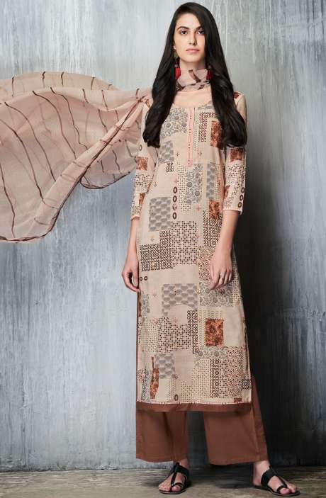 Cotton Lawn Printed Unstitched Salwar Suit Sets In Cream & Brown - IMP7609