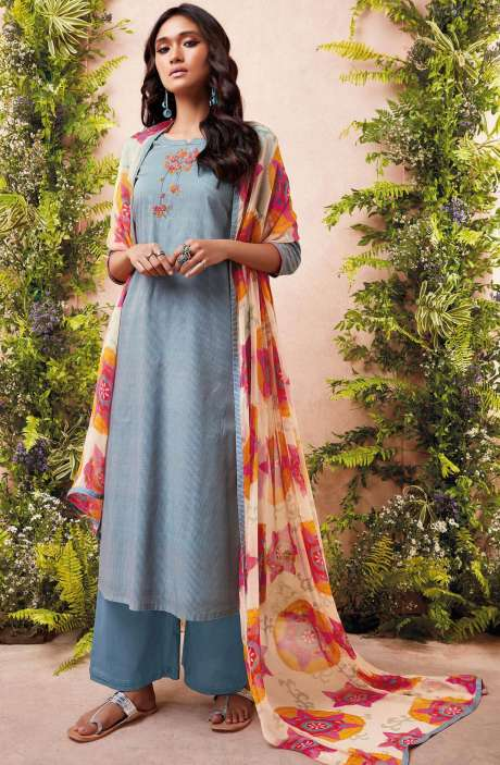 Tacfab Printed with Machine Embroidery Cotton Lawn Suit Sets In Grey and Beige - EST6222