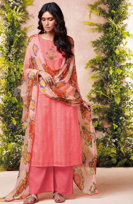Tacfab Printed with Machine Embroidery Cotton Lawn Suit Sets In Peach - EST6223
