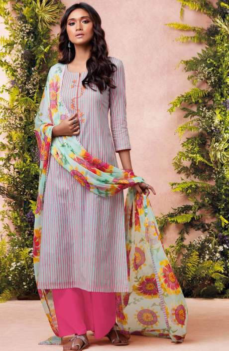 Tacfab Printed with Machine Embroidery Cotton Lawn Suit Sets In Grey and Pink - EST6224