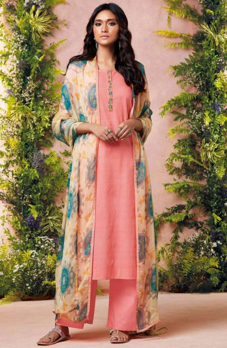 Tacfab Printed with Machine Embroidery Cotton Lawn Suit Sets In Peach and Off White - EST6226