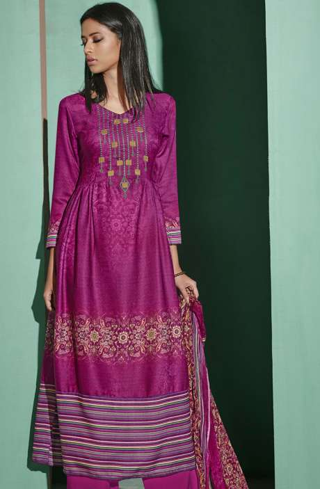 Digital Printed with Embroidery Spun Wool Salwar Suit In Magenta - ETH4321