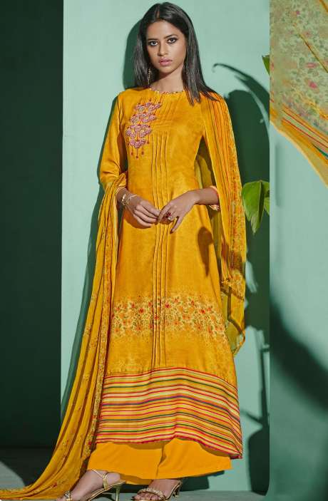 Digital Printed with Embroidery Spun Wool Salwar Suit In Yellow - ETH4322