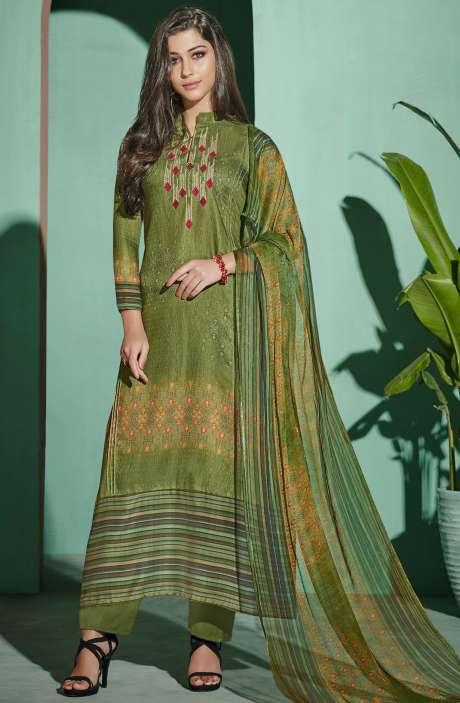 Digital Printed with Embroidery Spun Wool Salwar Suit In Green - ETH4323