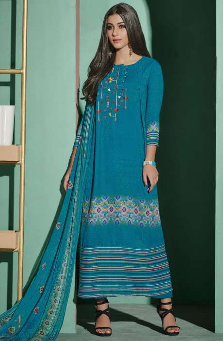 Digital Printed with Embroidery Spun Wool Salwar Suit In Firozi - ETH4324
