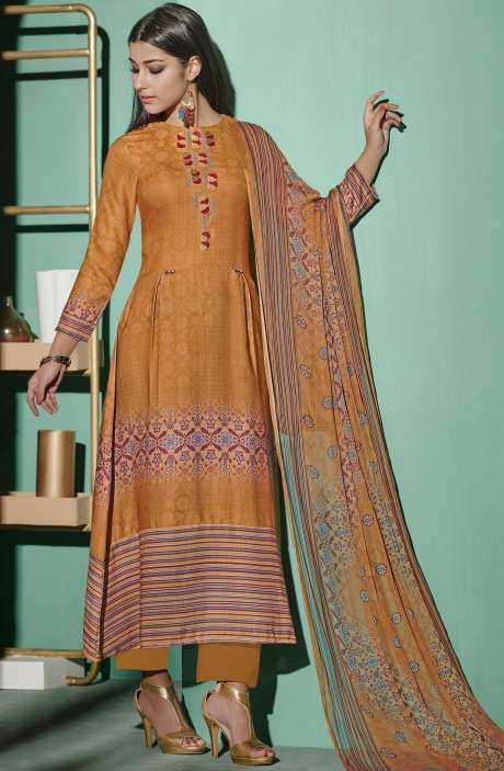 Digital Printed with Embroidery Spun Wool Salwar Suit In Brown - ETH4325