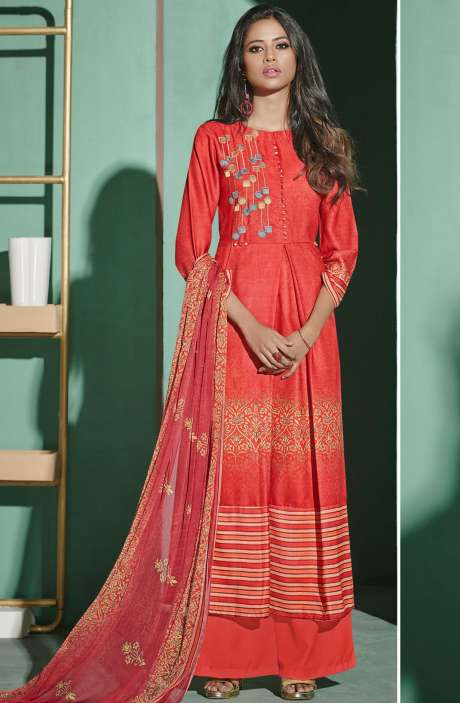 Digital Printed with Embroidery Spun Wool Salwar Suit In Carrot Red - ETH4327