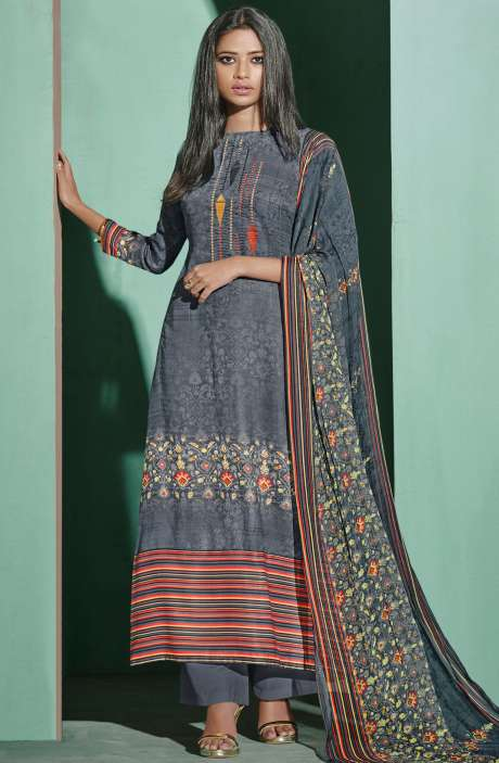 Digital Printed with Embroidery Spun Wool Salwar Suit In Grey - ETH4328