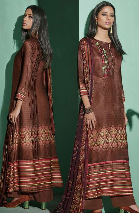 Digital Printed with Embroidery Spun Wool Salwar Kameez In Coffee Brown - ETH4330
