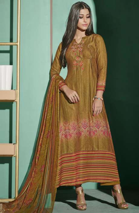 Digital Printed with Embroidery Spun Wool Salwar Kameez In Mehndi - ETH4331