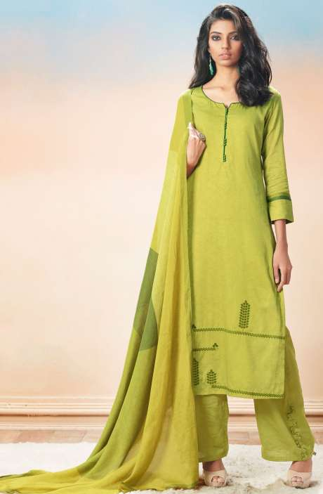 Cotton Satin Printed with Machine Embroidery Pista Green Salwar Suit - EVA5402