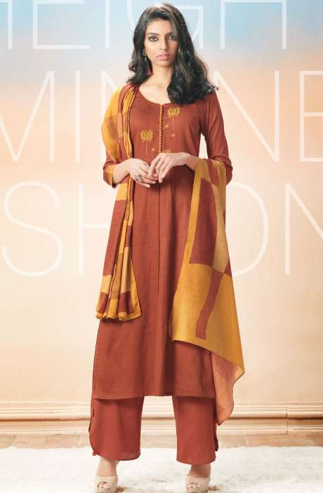Cotton Satin Printed with Machine Embroidery Brown Salwar Suit - EVA5403