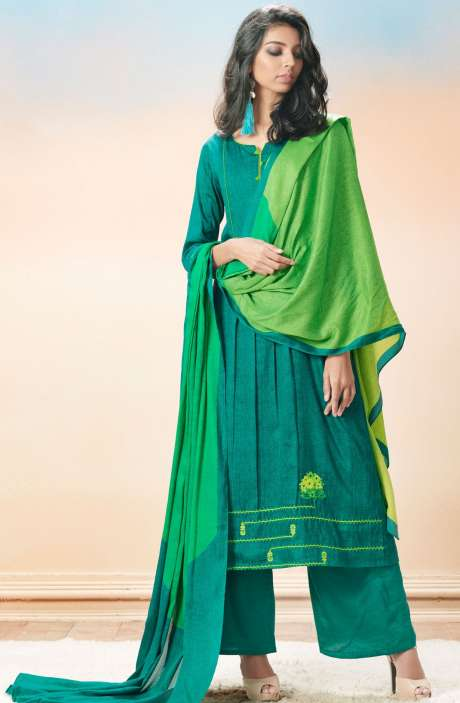Cotton Satin Printed with Machine Embroidery Bottle Green Salwar Suit - EVA5404