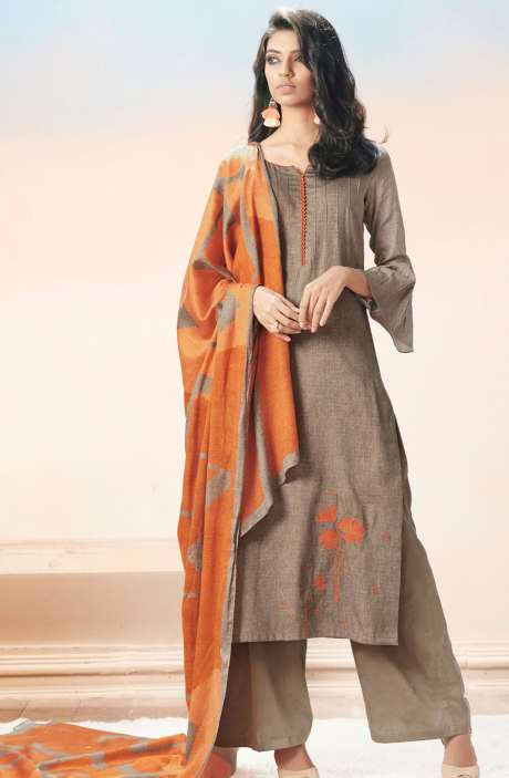 Cotton Satin Printed with Machine Embroidery Grayish Brown Salwar Suit - EVA5406