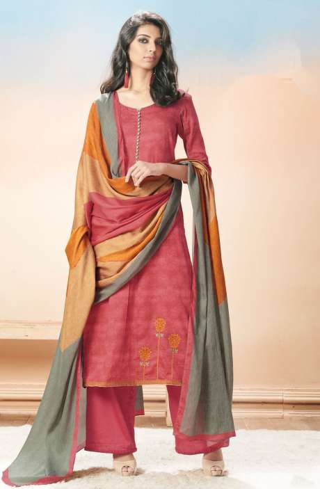 Cotton Satin Printed with Machine Embroidery Red Salwar Kameez - EVA5408