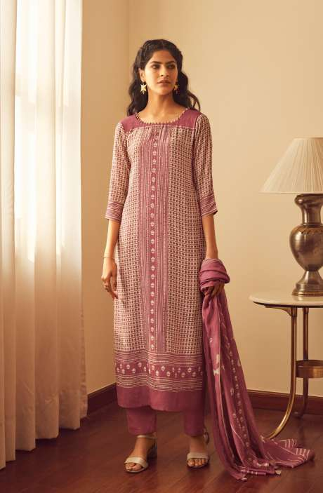 Modal Cotton Digital Printed Suit-sets In Pink - EVO5784