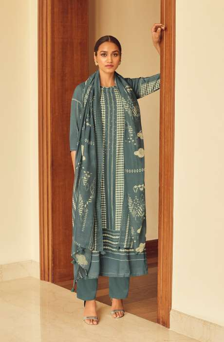 Modal Cotton Digital Printed Suit-sets In Grey - EVO5785